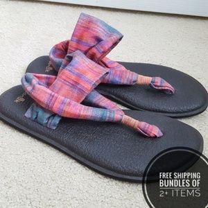 Sanuk Sling Sz 8 Pink Multi Stretch Sandals Thongs
